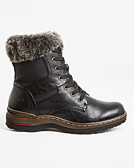 Heavenly Feet Lace Boot with Fur Trim Extra Wide EEE Fit