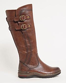 Heavenly Feet Buckle Knee High Boot Wide E Fit Standard Calf