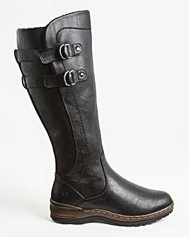Heavenly Feet Buckle Knee High Boot Wide E Fit Curvy Calf