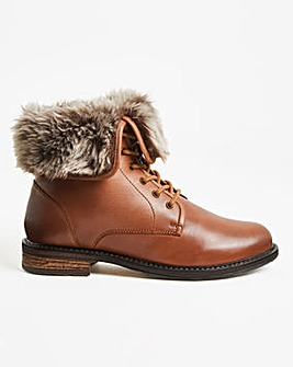 Lace Boot with Warm Collar Extra Wide EEE Fit