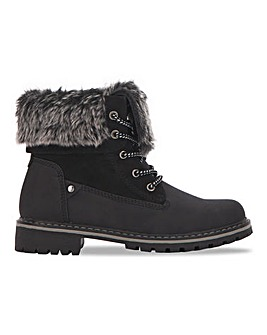 Fur Collar Lace Up Boot Wide E Fit