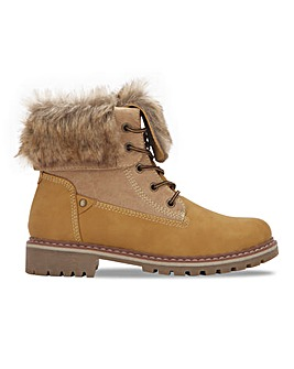 Fur Collar Lace Up Boot Extra Wide EEE Fit