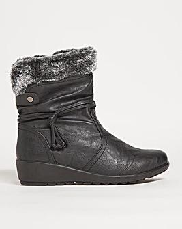 Cushion Walk Fur Collar Boot Wide E Fit