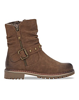 Biker Boot with Cleated Sole Wide E Fit