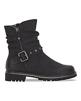 Biker Boot with Cleated Sole Extra Wide EEE Fit