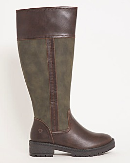 Heavenly Feet High Leg Two Tone Boot Extra Wide EEE Fit Curvy Calf
