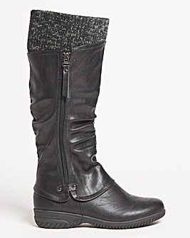 Cushion Walk Knitted Collar Boot Extra Wide EEE Fit Curvy Plus Calf
