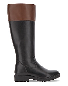 Block Heeled Knee Boot Wde E Fit Super Curvy Calf