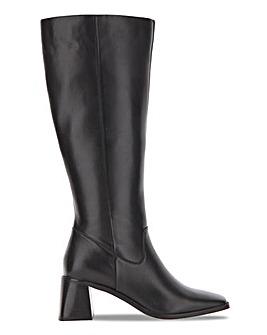 Block Heeled Knee Boot Wide E Fit Curvy Calf