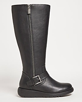 Knee Boot with Buckle Detail Extra Wide EEE Fit Curvy Calf