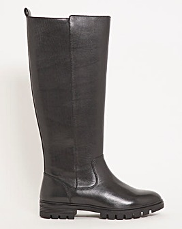 Water Resistant Leather Knee High Boot Extra Wide EEE Fit Standard Calf