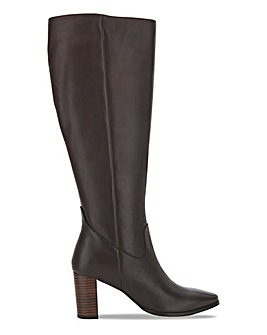 Premium Leather Knee High Boot Wide E Fit Standard Calf