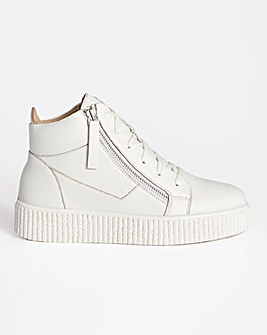 Leather Side Zip Hi Top Trainer Wide E Fit