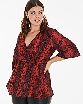 Red Snake Kimono Wrap Blouse