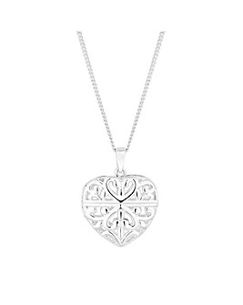 Simply Silver Caged Heart Pendant
