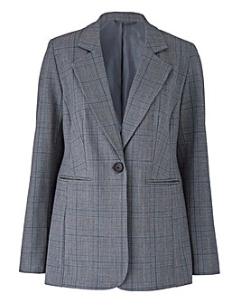 Petite Single Breasted Check Blazer