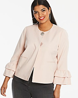 Statement Frill Sleeve Cropped Jacket