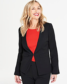 Black Fluted Sleeve Edge to Edge Blazer