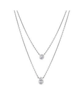 Simply Silver Double Pearcut Pendant