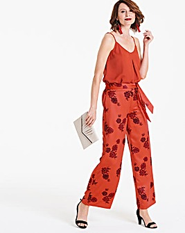 Orange Printed Satin Wide Leg Trouser 0aba94dddfd8