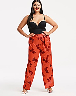 Orange Printed Satin Wide Leg Trouser