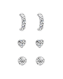 Silver Crystal Sterling Silver Crystal Embellished Stud Earring Set