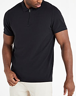 Black Zip Neck Polo Long