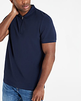 Navy Zip Neck Polo Regular