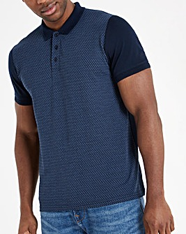 Navy Zip Neck Polo Long