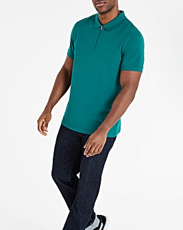 Green Zip Neck Polo Long