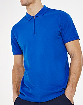 Blue Zip Neck Polo Long