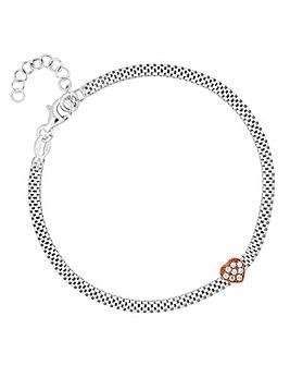 Simply Silver 2 Tone Heart Mesh Bracelet