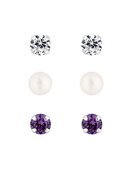 Simply Silver 3 Pack Stud Earring Set