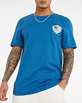 Blue Cali Surf Print Backprint Tee L