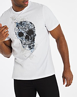 White Skull Floral Graphic Tee L