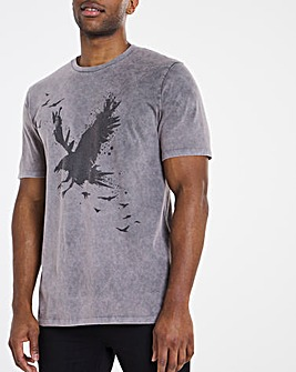 Grey Wash Eagle Print Tee L
