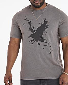 Grey Wash Eagle Print Tee L