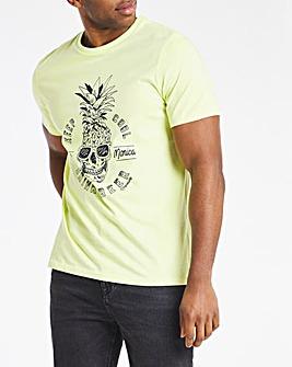 Yellow Skull Print Tee L