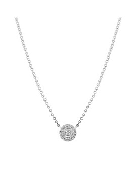 Simply Silver Pave Disc Pendant