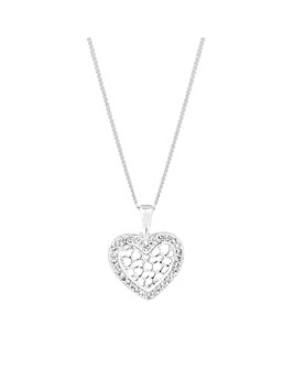 Simply Silver Honeycomb Heart Pendant