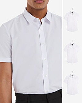 White 3 Pack Short Sleeve Formal Shirt