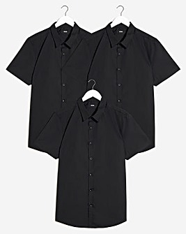 Black 3 Pack Short Sleeve Formal Shirt
