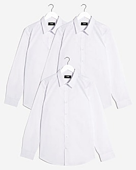 White 3 Pack Long Sleeve Formal Shirt