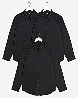 Black 3 Pack Long Sleeve Formal Shirt