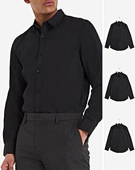 Black 3 Pack Long Sleeve Formal Shirt