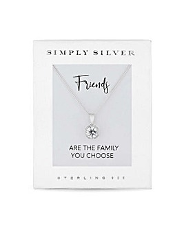 Simply Silver Sterling Silver 925 White Cubic Zirconia Short Pendant Necklace