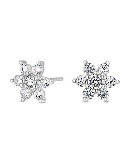 Simply Silver Floral Stud Earrings