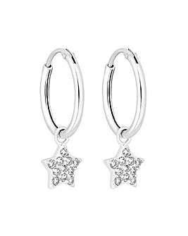 Simply Silver Star Charmed Hoop Earrings