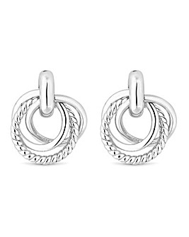Silver Triple Ring Knot Stud Earrings