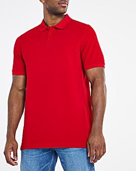 Red Pique Polo Long